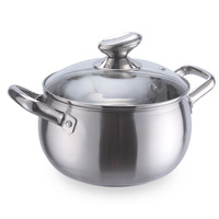Thickened stainless steel pearl soup soup pot stainless steel pot tube ear double handle