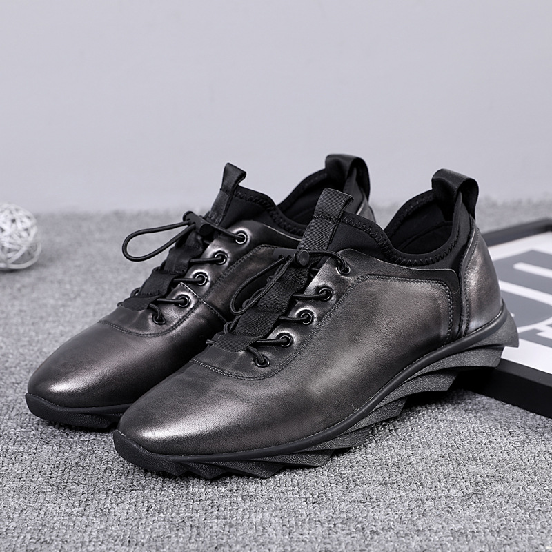 Desai Designer Black Casuais 43 Genuíno Sneakers Preto 38 Homens qiang Calçados Elástico De Formadores Marca Couro Italiano Dos Tamanho Sapatos r5wqPrxSU