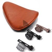 Brown Motorcycle Torsion Leather Solo Seat+3 Spring Bracket Mounting Base Kit Universal For Harley Chopper Bobber Saddle Seat