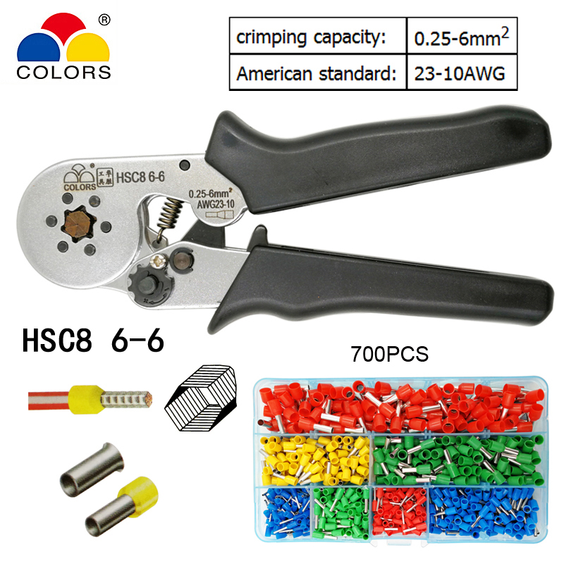COLORS HSC8 6-6 wire crimping pliers for tube type needle type terminal crimp self-adjusting capacity 0.25-6 mm2 23-10 AWG tool newacalox multifunction self adjustable terminal tool kit wire stripper crimping pliers wire crimp screwdriver with tool bag