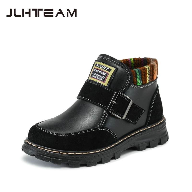 2016 Winter Children Genuine Leather Boots Brand Boys & Girls Cotton Buckle Shoes Fashion Ankle Martin Boots for Kids RJ249