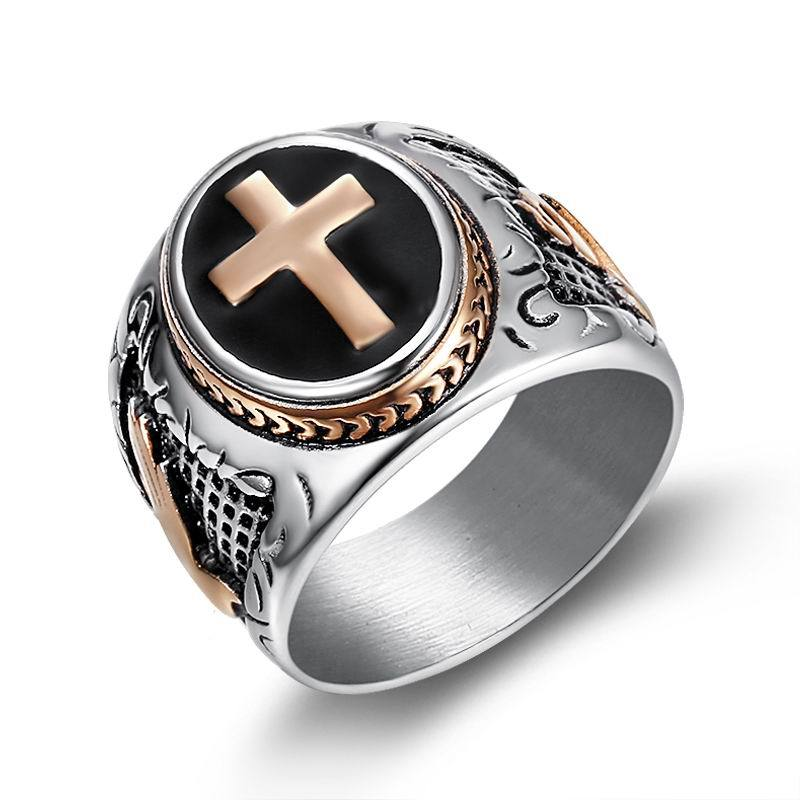 New Arrival Jesus Cross Ring Men Rose Gold Color Stainless Steel Hand of God Pattern Black Vintage Male Prayer Finger Jewelry