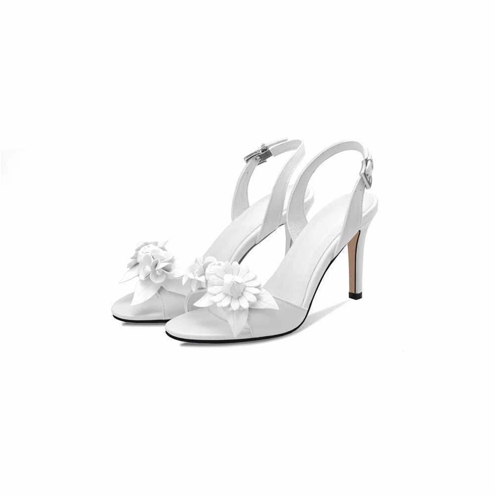 ASUMER siyah kırmızı beyaz moda yaz yeni varış bayanlar düğün ayakkabı toka zarif kadın hakiki deri yüksek topuklu sandalet