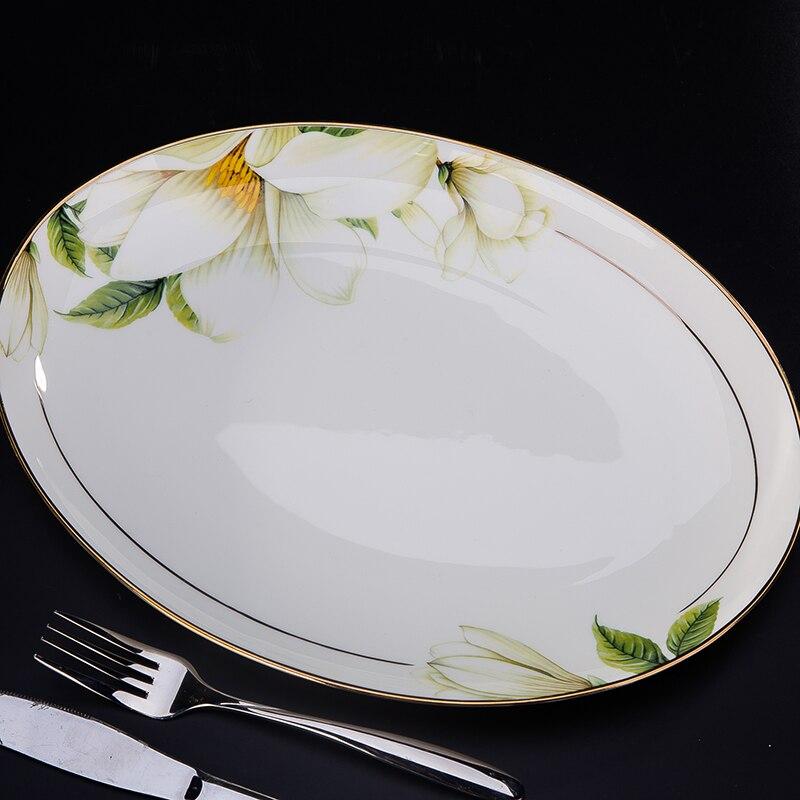 Купить с кэшбэком Jingdezhen ceramics 58 head bone china tableware bowl steak dishes suit suit Phnom Penh genuine gifts