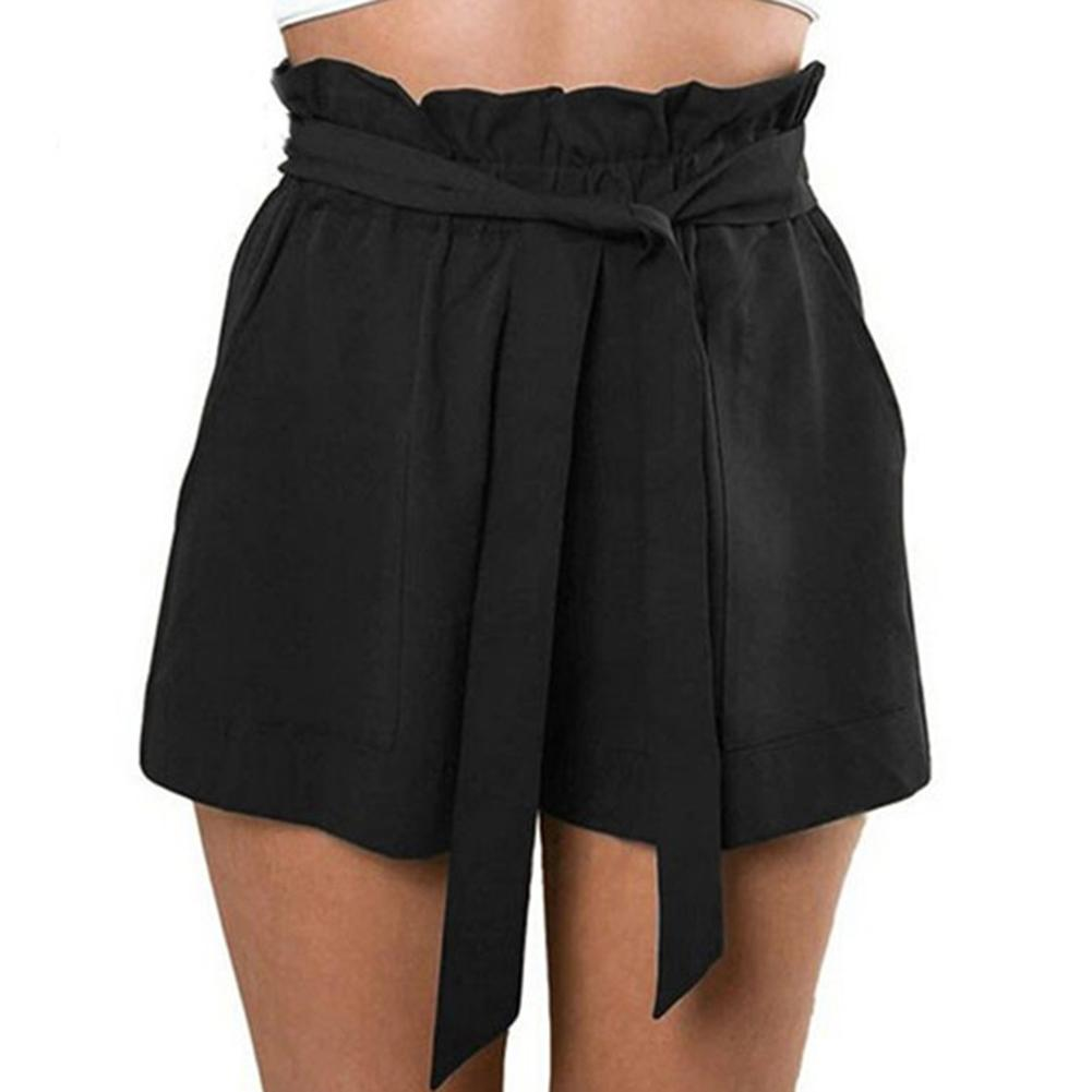 Summer Solid Color Women Loose Ruffled High Waist Belted Shorts With Pockets