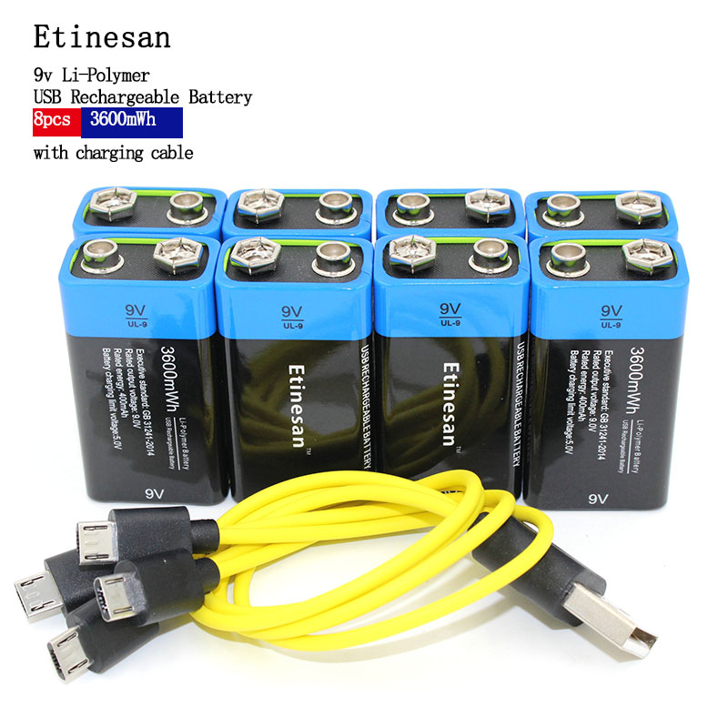 ETINESAN 8pcs 9V 3600MWH li-ion li-polymer lithium rechargeable battery for camera toy ,robot ect battery + USB charging cable 3 7v lithium polymer battery 061745 601745 camera pen recorder bluetooth wireless mouse battery