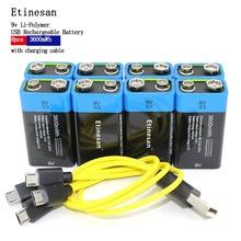 ETINESAN 8 unids 9 V 3600MWH li-polímero de litio recargable de li-ion batería de la cámara de juguete, robot ect batería + cable de carga USB