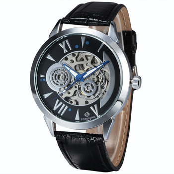 2015 Luxury Brand Automatic Mechanical Men Watches Steel Case Skeleton Dial Transparent Back PU Leather Strap Relogio Masculino brand ar8186 2015 relogio mascuulino