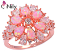 Pink Fire Opal White Cubic Zirconia Rose Gold Plated Ring Wholesale Retail for Women Jewelry Ring Size 5-13 OJ6268