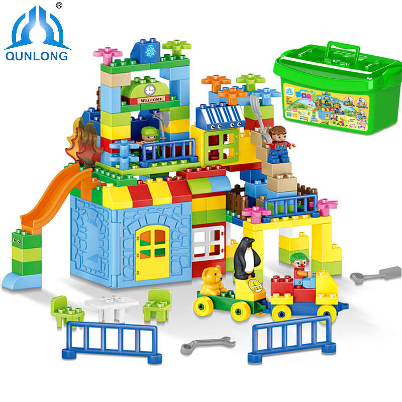 Minecrafted Figures 160pcs DIY Colorful Building Blocks Big Bricks Educational Toys For Children Compatible Legoe Duplo Toy Gift 10646 160pcs city figures fishing boat model building kits blocks diy bricks toys for children gift compatible 60147