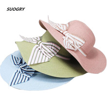 SUOGRY 2019 New Fashion Flat Sun Hat Womens Summer bow Jazz Straw Hats For Women Beach Headwear 6 Colors Chapeau Caps Gift
