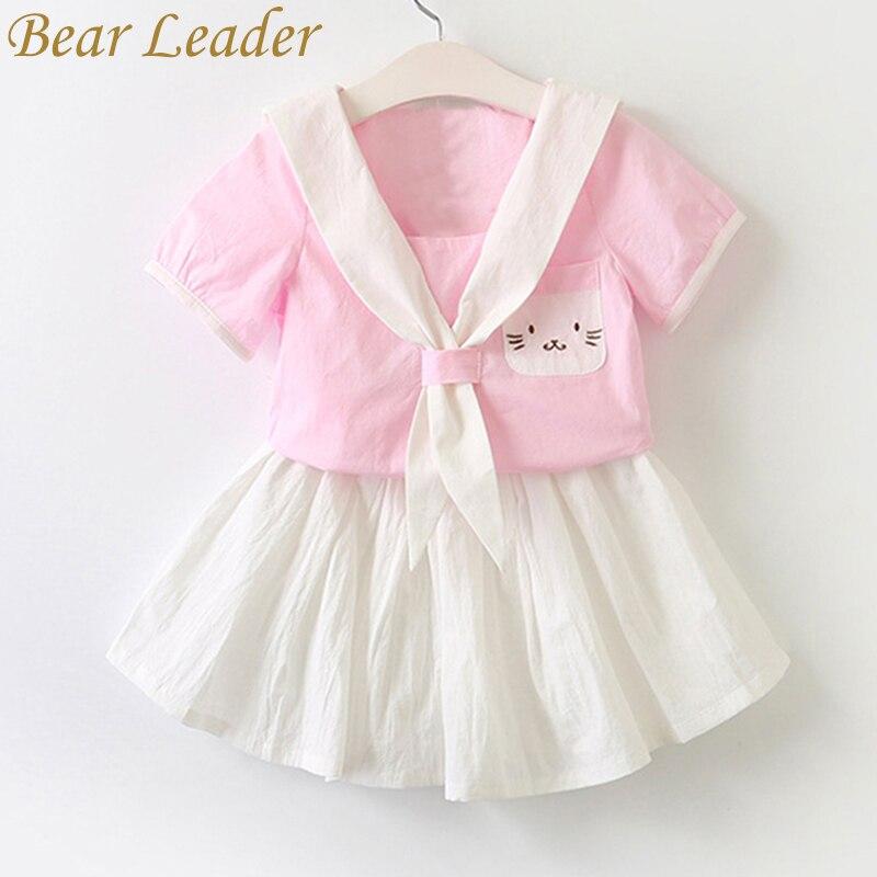 Bear Leader Girls Dress 2018 New Summer Children Clothing Cartoon Cat Dress Embroidery Set Sailor Collar Dress Kids Clothes Suit