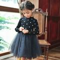 Retail! New 2016 brand newborn baby girls dress full of mesh big girl party dress infant babywear kids children baby clothing