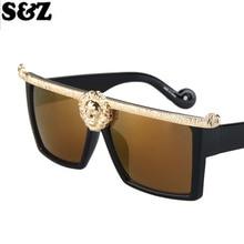 Роскошные модные брендовые унисекс oversize Солнцезащитные очки для женщин большой площади голова льва Рамки классический Винтаж очки для Для мужчин Для женщин
