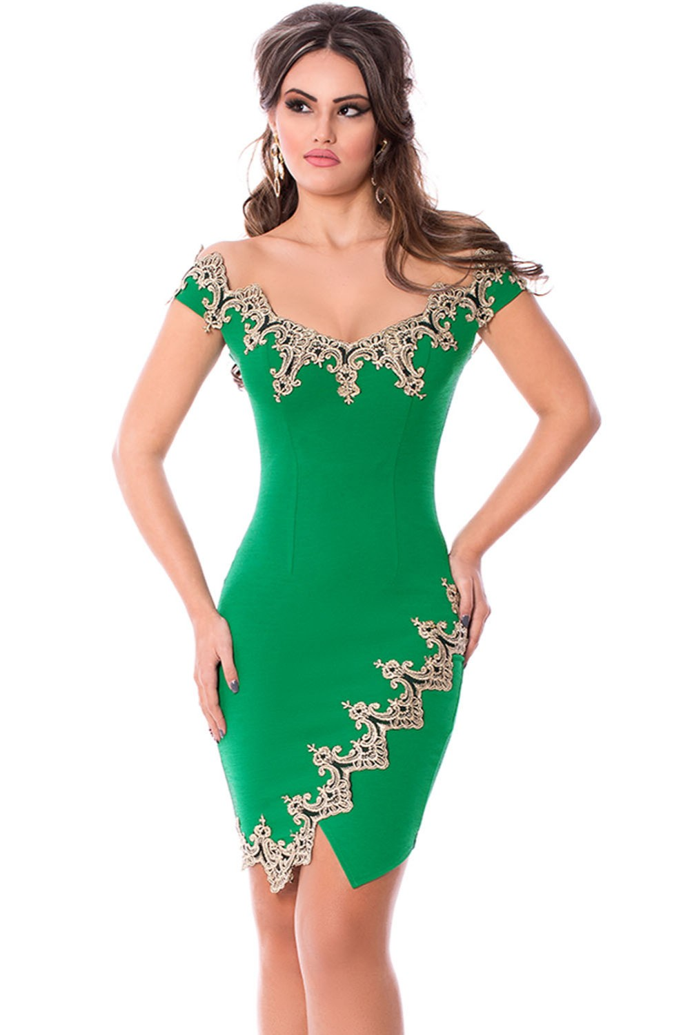 Gold-Lace-Applique-Green-Off-Shoulder-Mini-Dress-LC22715-9-1