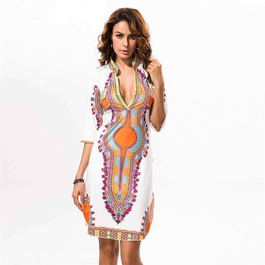 Африканские платья для женщин 2019 новости Дашики печати Базен v-образным вырезом рубашка в африканском стиле женская одежда женские вечерние платья богатая одежда