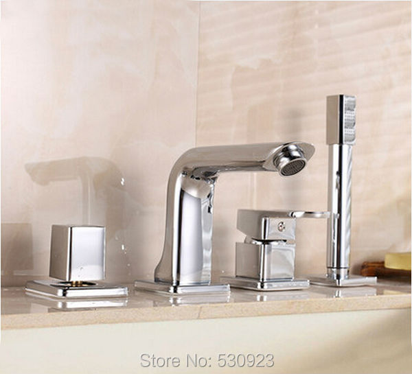 Newly Modern Chrome Finished 4pcs Bathtub Faucet Set Deck Mounted Mixer Tap With Brass Hand Shower Sprayer Shower Tub Faucet