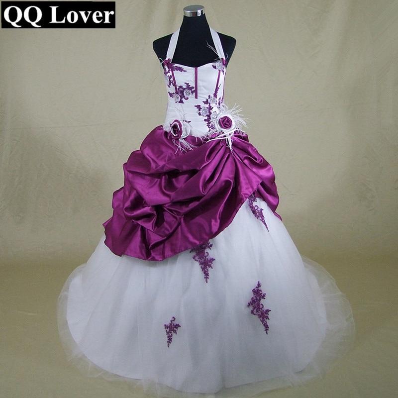 QQ Lover 2019 New Design Split Joint Halter Wedding Dress Colors Vestido De Novia