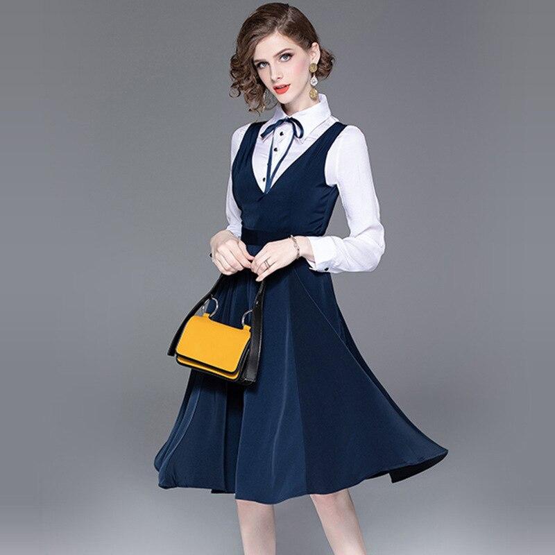 2019 nuevo Conjunto elegante de 2 piezas mujer estilo preppy dos piezas conjunto vestido blanco mujer 2 piezas ropa femenina-in Conjuntos de mujer from Ropa de mujer    2