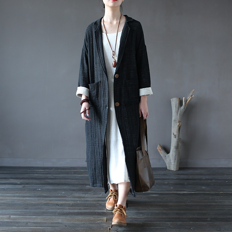 Solid Black Red Long sleeve Women Trench Coat Autumn Winter Cotton Linen Novelty Design Long Coat Vintage New Fashion Coats A134