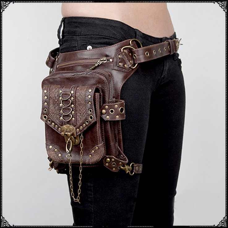 2018 nowy najwyższej jakości PU skóry kobiet talii marki jazdy nogi spadek torba Punk Rock motocykl czaszka Messenger torba na ramię opakowanie