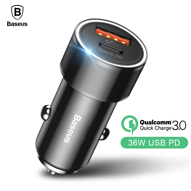 Baseus 36W Dual USB Car Charger For iPhone X 8 USB Type C PD Quick Charge 3.0 Car Phone Charger For Samsung S9 S8 Car Charger