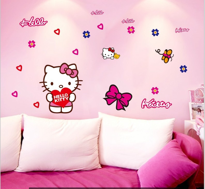 Beautiful Cartoon Pink Hello Kitty Wall Stickers For Car Door Window Decorations Home  Decor Wall Art For Kids Room Decals Diy Girlu0027s Gift In Wall Stickers From  Home ...