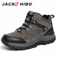 JACKSHIBO Brand Winter Men Boots Men Shoes Plus Size Warm Shoes Add Fur Chaussure Homme Anti