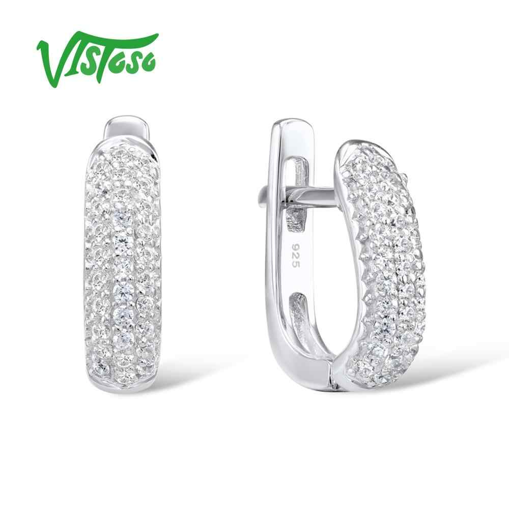 VISTOSO Fine Jewelry Stud Earrings Silver 925 With Stone Round White Cubic Zircon High Quality Fine Stud Earrings 2018 For Women