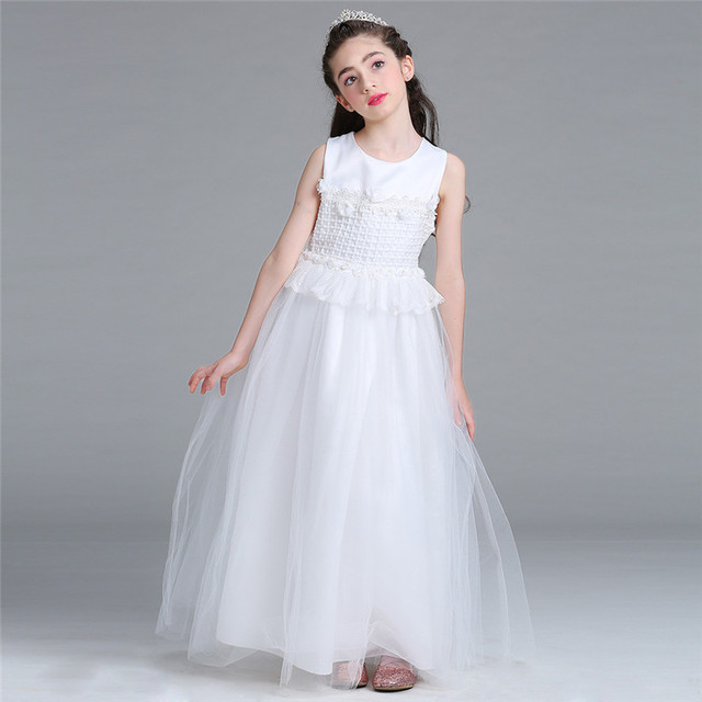 New Evening Party Flower Bow Girl Wedding Dress White Fancy Princess ...