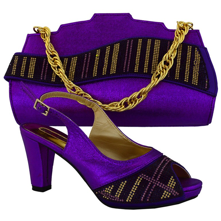 Fashion New Design Italian Shoes And Bag Set African Spike Heels Shoes And HandBag Set For Wedding Party Purple Color MM1017 gg6 2016 new design hot sale elegant and luxury rhinestones african handbag for wedding party
