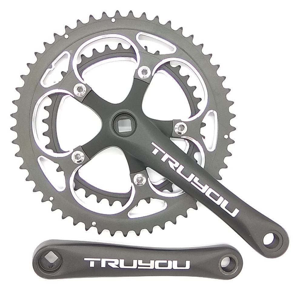 TRUYOU Road Bicycle Crankset 110 BCD 53/39T Chainwheel 3/32 Folding Bike Chainrings 2*7/8/9 Speed Double Disc Crank 170mm Black prowheel ounce 721 39t 53t 46t 56t road bike crankset small wheel bicycle crankset 9s 10s speed 170mm bike chainwheel with axis