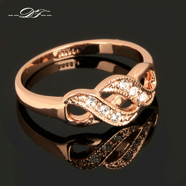 Zirconia Infinity Rings Rose Gold Plated
