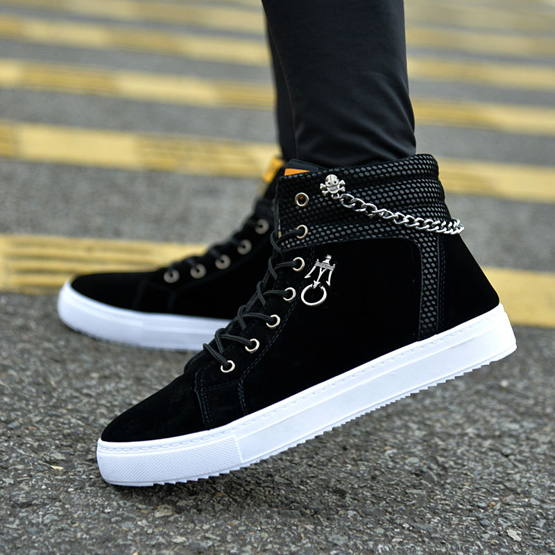 Hot 2018 Spring Autumn Men Casual Canvas Shoes Men Lace-Up Chain Skull Decorative Ankle Boots Winter Fashion Trend Fur Man Shoes xiaguocai spring autumn high top men shoes fashion canvas men s casual shoes lace up flat ankle boots for male