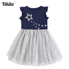 VIKITA Girls Princess Dress Kids Unicorn Dresses for Children Sequins Toddlers Tutu Girl Summer Vestidos