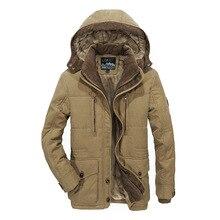 TIEPUS зимняя куртка мужская Толстая теплая с карманами среднего возраста человек с капюшоном парки пальто плюс размер 4XL 5XL 6XL мужская военная куртка
