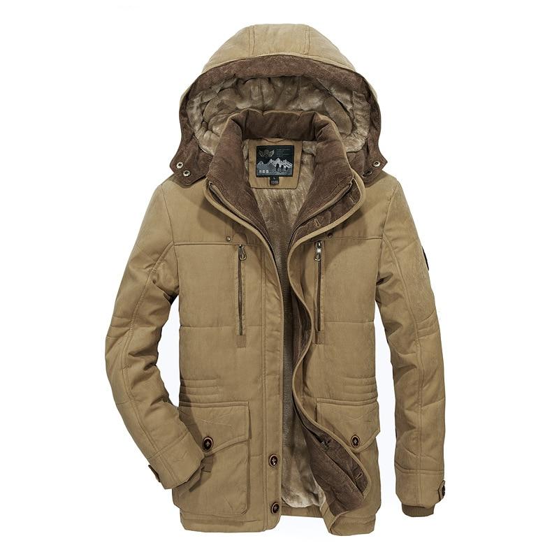 Tiepus jaqueta de inverno masculino grosso quente multi-bolso homem de meia-idade com capuz parques casaco plus size 4xl 5xl 6xl masculino militar casaco
