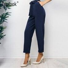 Toplook OL Elegant Bandage Pencil Pants Women 2018 Dark Blue Fashion High  Waist Pocket Harem Pants Casual Slim Leggings Trousers 24dd14280d2