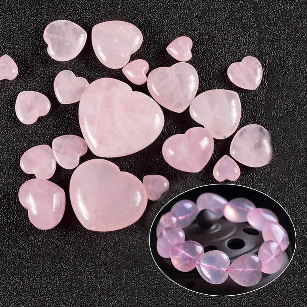 Natural Crystal Jade Heart Pendant Pocket Guardian Handicrafts Pink Love Heart Shaped Crystal Ornaments For DIY Bracelet Pendant
