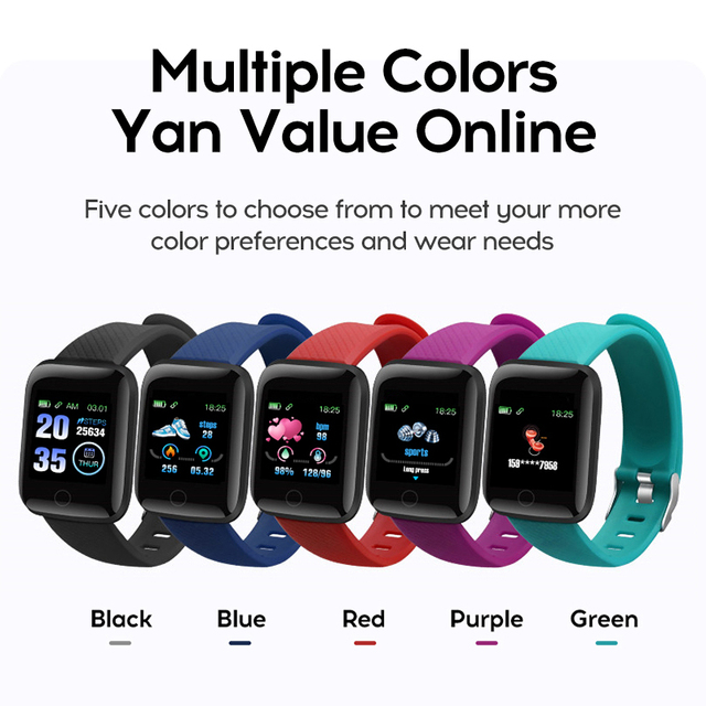 D13 Smart Watch 116 Plus Heart Rate Watch Wristband Sports Watches Smart Blood Pressure Band Waterproof Smartwatch Android A2