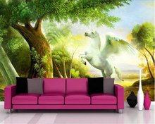beibehang Custom fashion personality decorative painting 3d wallpaper landscape tree unicorn TV background papier peint