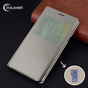 Image 1 - Case For Samsung Galaxy Note 4 Note4 SM N910 N9100 N910F N910C N910H SM N910F SM N910C Flip Mirror Smart View Cover With Chip