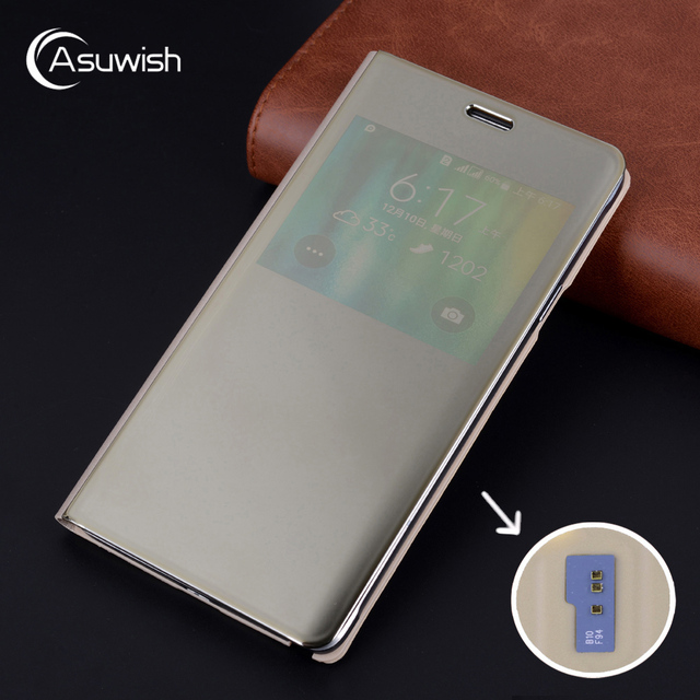 Case For Samsung Galaxy Note 4 Note4 SM N910 N9100 N910F N910C N910H SM N910F SM N910C Flip Mirror Smart View Cover With Chip