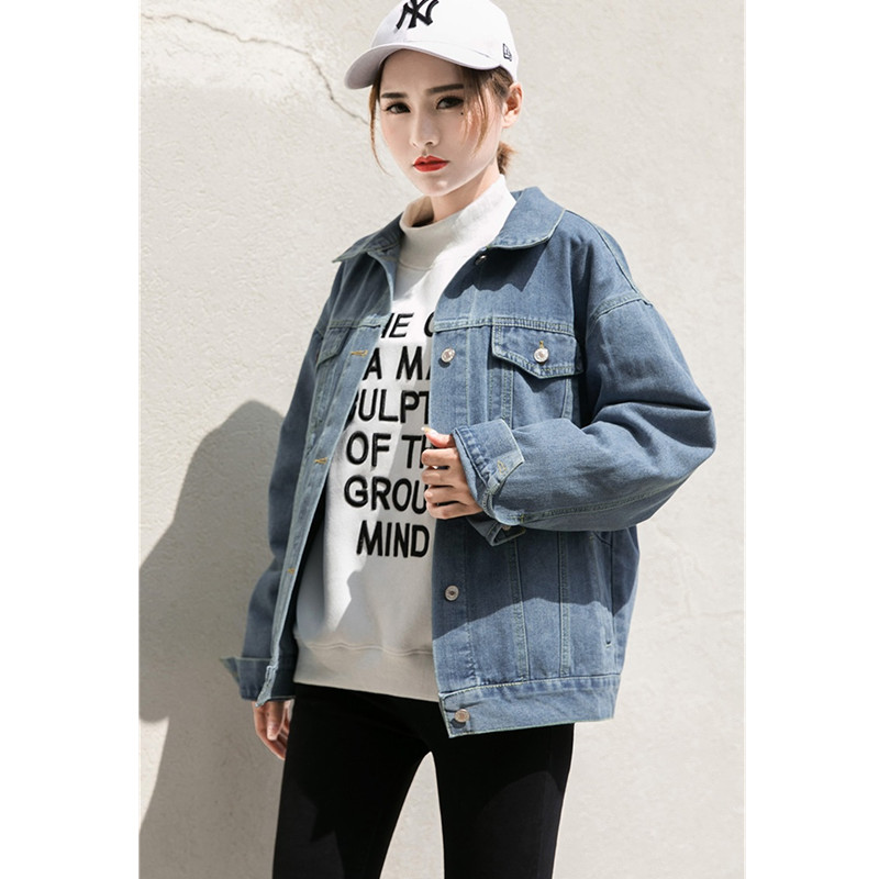 Spring light Outerwear Loose Plus Uhytgf Collar Abrigo Denim Women's Coats Stand Blue Sleeve Navy Mujer Female Jeans Long 751 Size Jacket Blue AxBF4R
