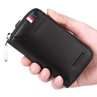 WILLIAMPOLO New Leather Key Case Wallets Keys Organizer Keychain Car Key Holder 6 Hooks Zip Around Credit Card Coin Cash Purse