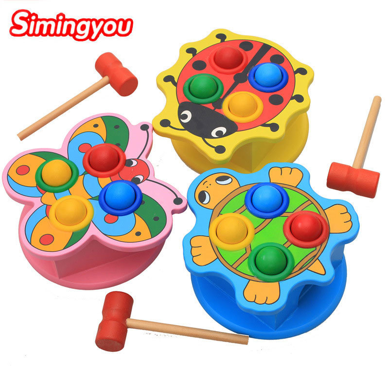 Simingyou Wooden Toys Tortoise Butterfly Ladybugs Wrong Knock On The Table 1 Pcs Children Toys B40-17 Drop Shipping