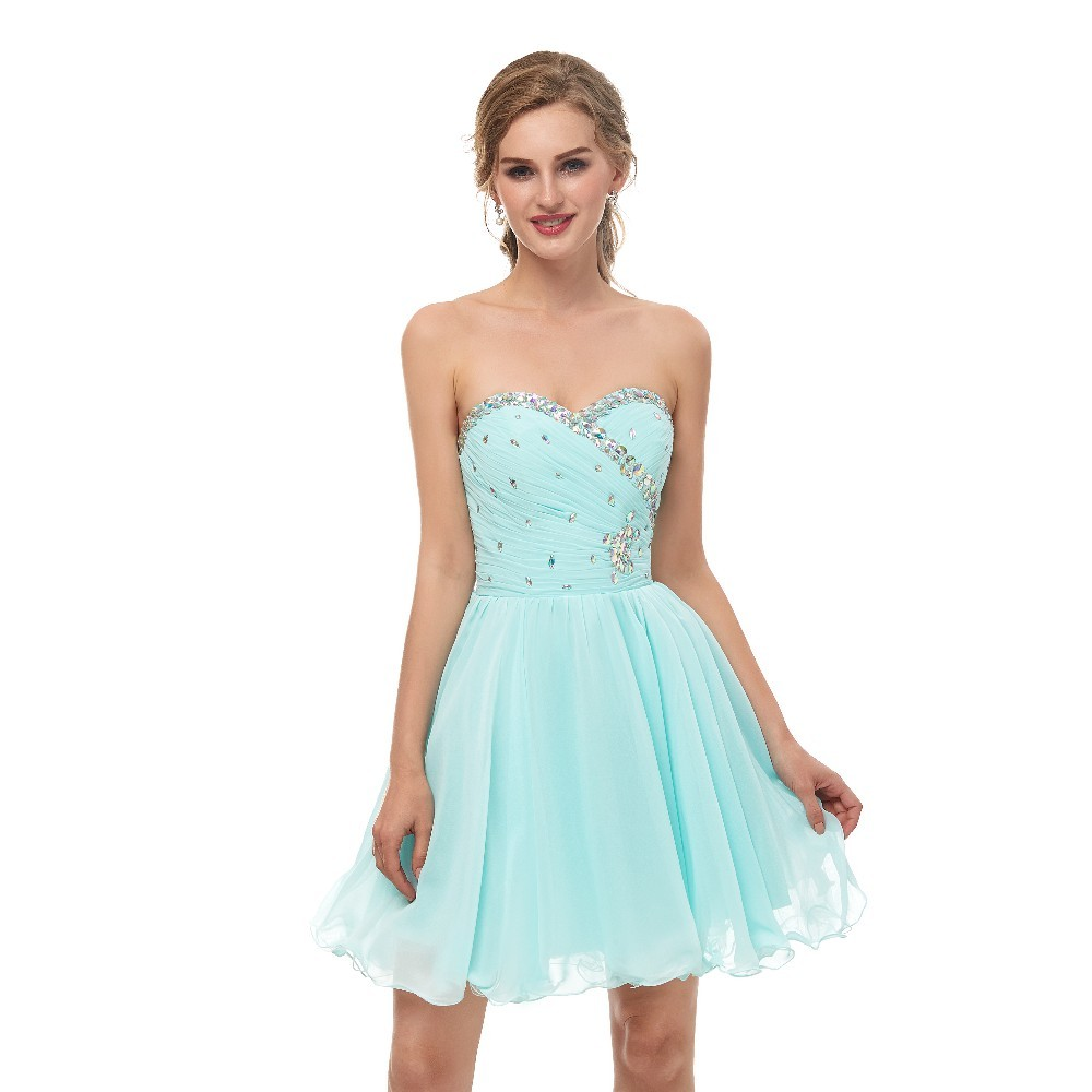 MüHsam Vivian Der Braut Sommer Schatz Mini Homecoming Kleid Ärmel Backless Kristall Pailletten Geraffte Schöne Chiffon Cocktail Kleid Weddings & Events