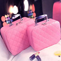 Travel Cosmetic Case Quilted Makeup Bag Single-zip Storage Organizer Beauty Box L Size