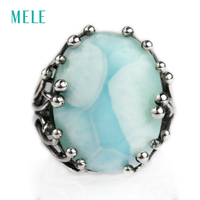 Natural Larimar Silver Ring Oval 15mm 20mm Blue Stone And Special Design Both Men And Women