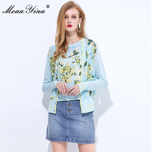 MoaaYina Spring Autumn V neck Long sleeve Cardigans Knitting Tops Womens Elegant Floral Print Silk Sweater Thin Coat